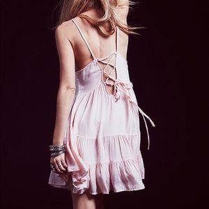 Free people lace up backless blush pink dress slip